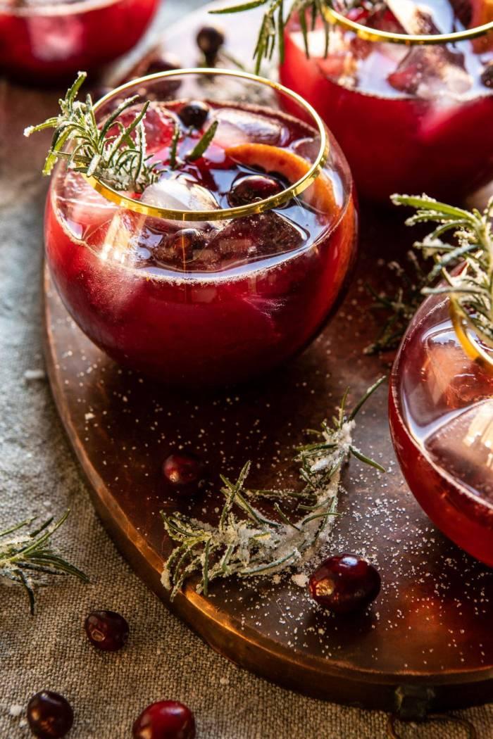 side angle close up photo of Cranberry Bourbon Sour