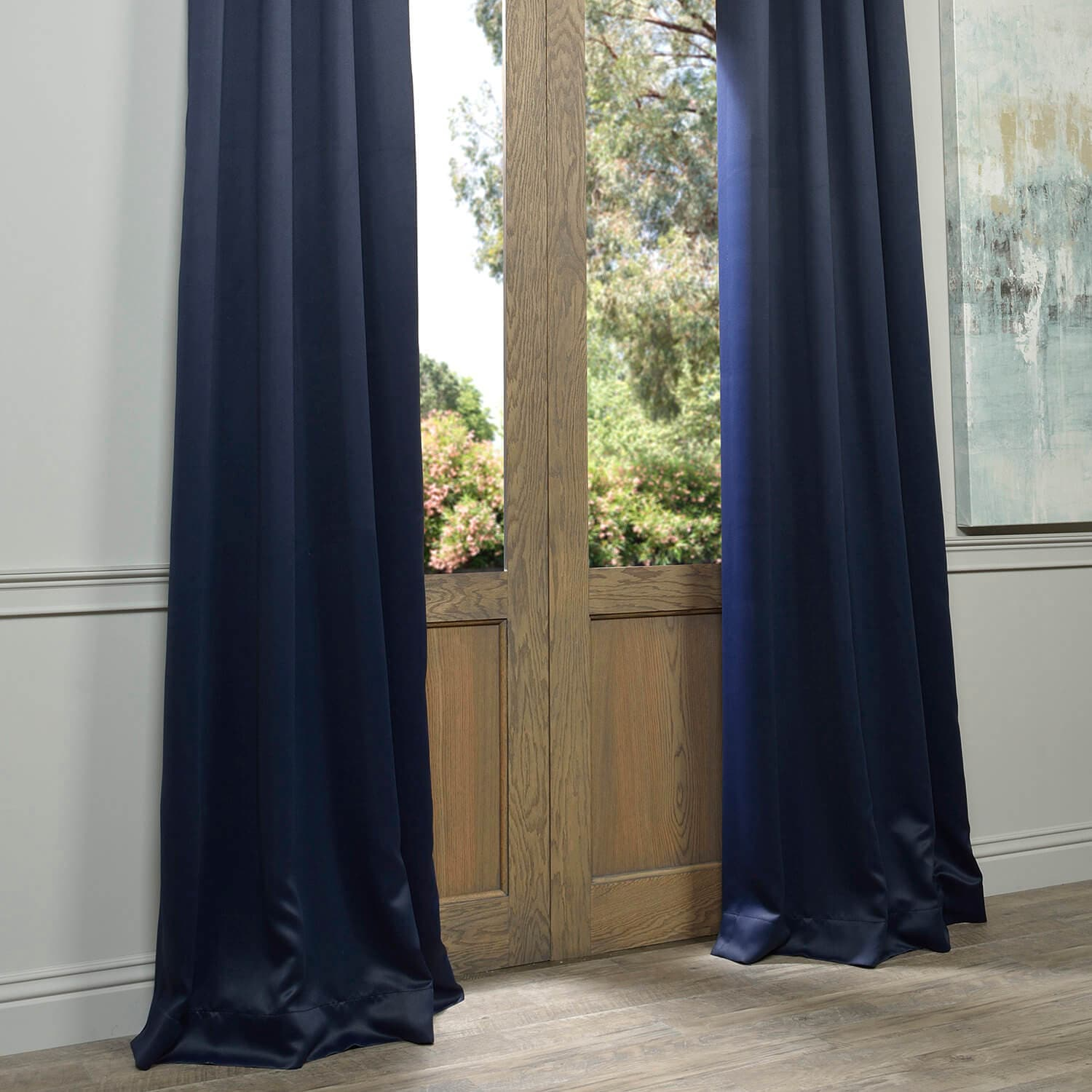 Blackout Grommet White Curtains And Navy