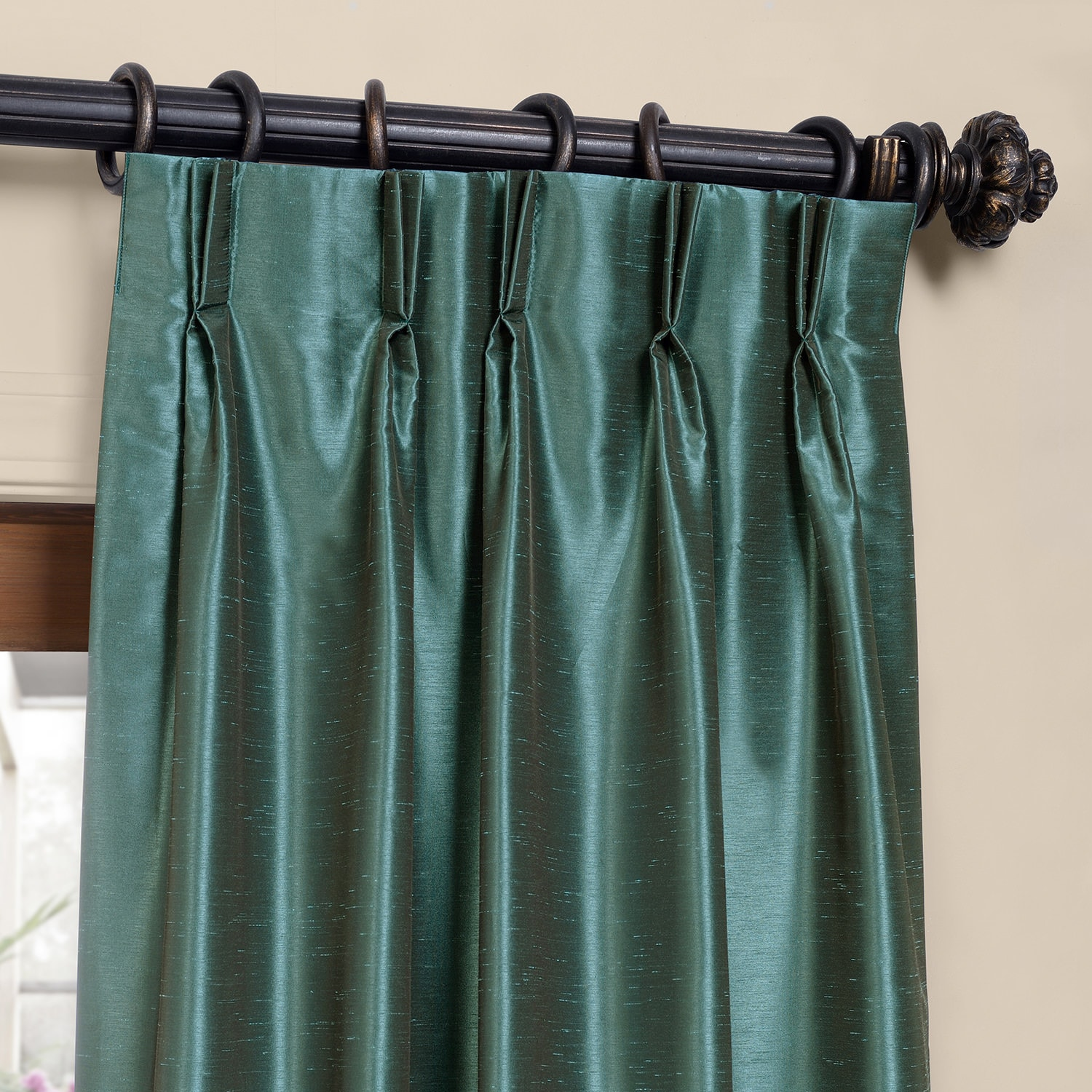 Peacock Blackout Textured Faux Dupioni Pleated Curtain