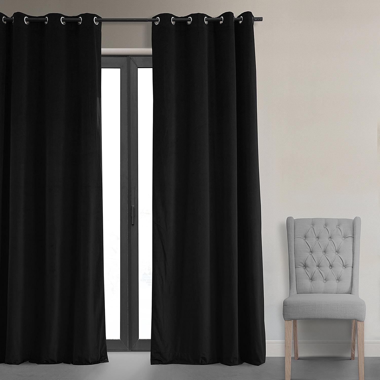 Signature Warm Black Grommet Blackout Velvet Curtains