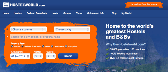 HostelWorld Home Page