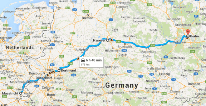 Germany Hitchhiking Map
