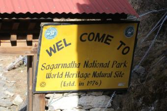 Sagarmatha National Park Sign