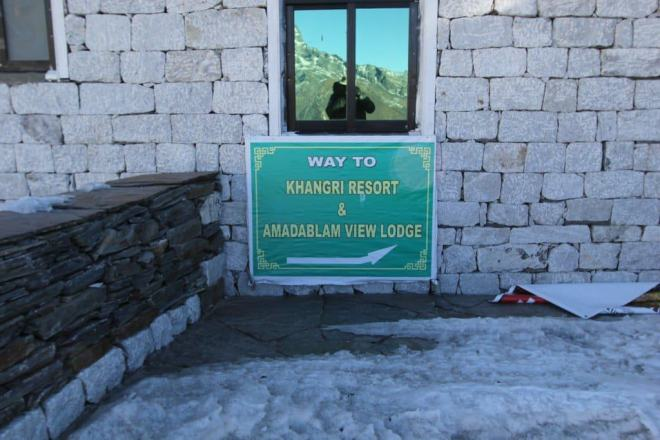 Khangri Resort Sign Chukhung Himalaya