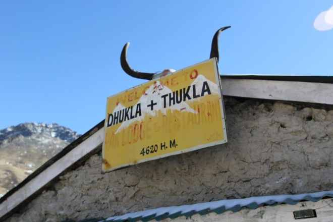 Everest Base Camp Trek Duglha Thukla Sign