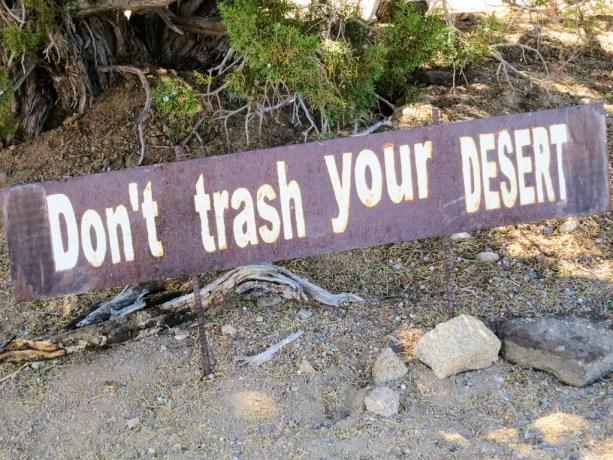PCT California Desert Trash Sign