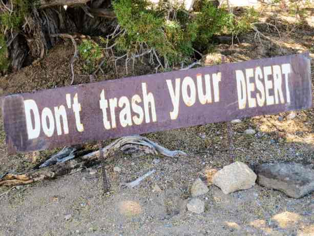 PCT California Desert Trash Sign