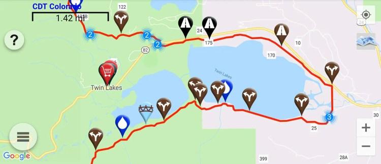 CDT Colorado Twin Lakes Map