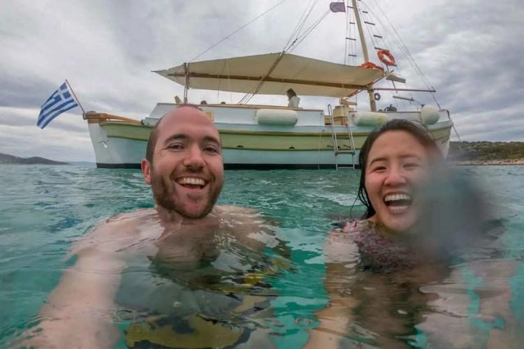 Swimming Paros Boat