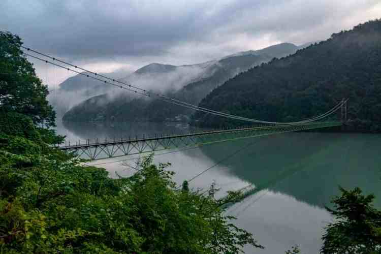 Japan Alps Traverse Bridge Sunset