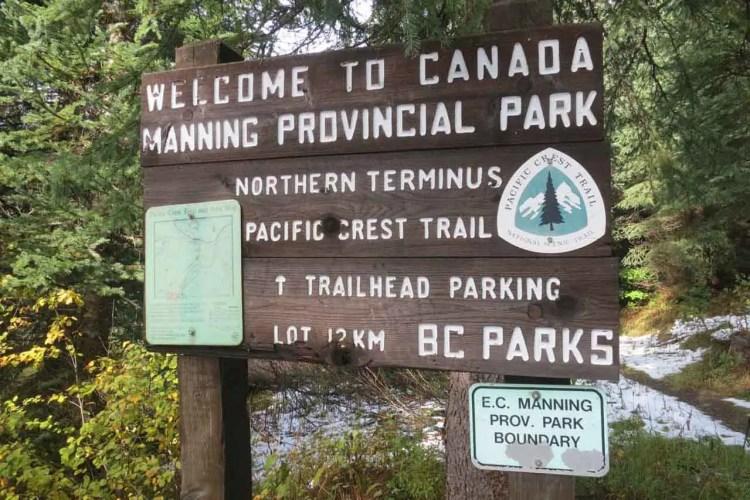PCT Washington Manning Park Sign