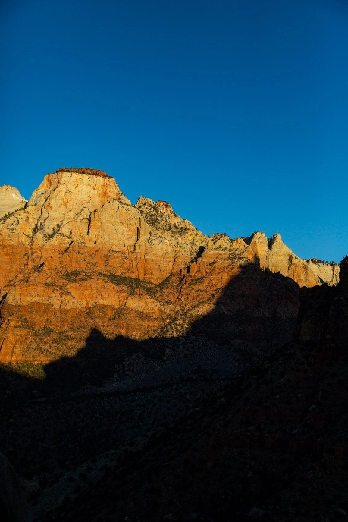 shadows on the walls in zion canyon. PArt of the zion elopement guide for planning your wedding day in zion national park