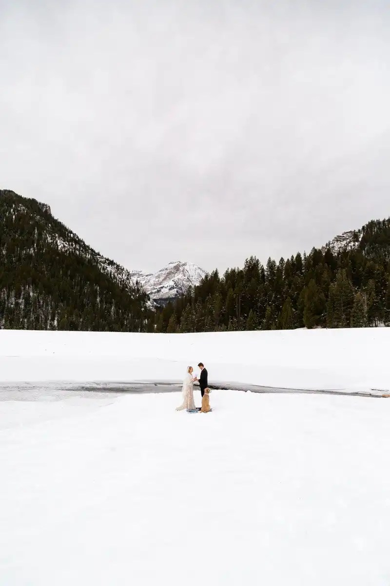 a winter mountain elopement in utah
