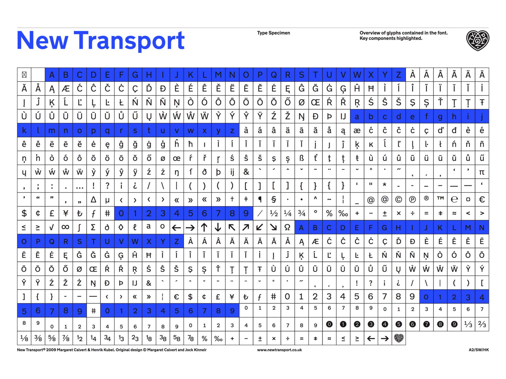 New Transport Font