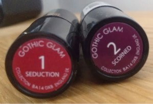 Collection Gothic Glam lipstick in Scorned and Seduction
