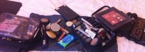 Inside a makeup artists bag