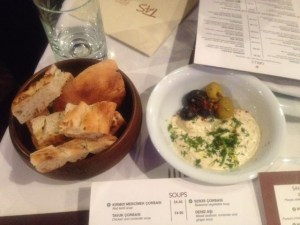 Bread olives and humous at Tas Turkish restaurant