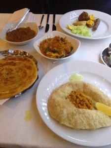Crab puri, paratha and curry at Memsaheb on Thames