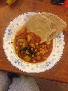 Chickpea and potato curry with pitta bread