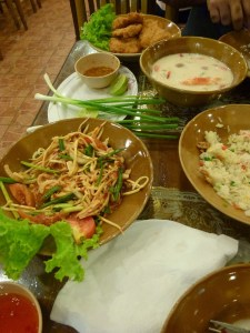 Papaya salad and Thai soup