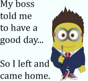 Office minion suited and booted