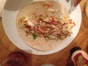 Open chicken burrito