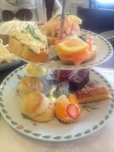 afternoon tea sandwiches and cakes at the Ash tea rooms