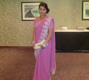 pink and silver saree