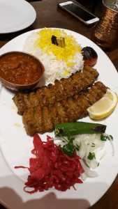 Chicken and lamb kebab with chips