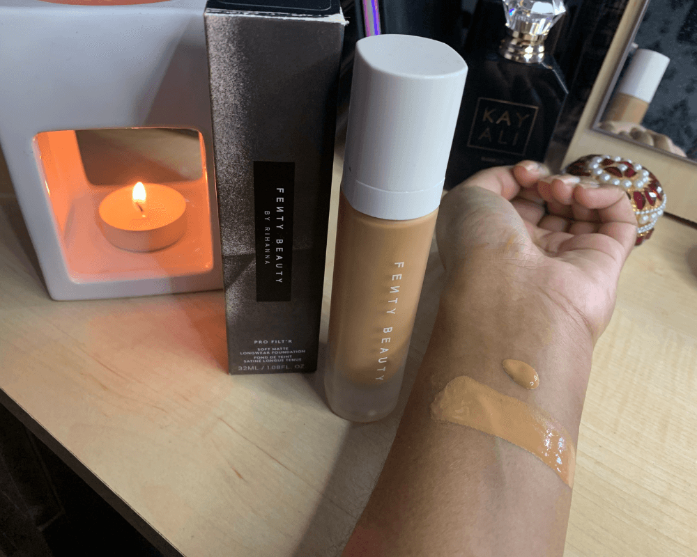 Fenty Beauty Pro filter foundation swatched on Indian brown skin