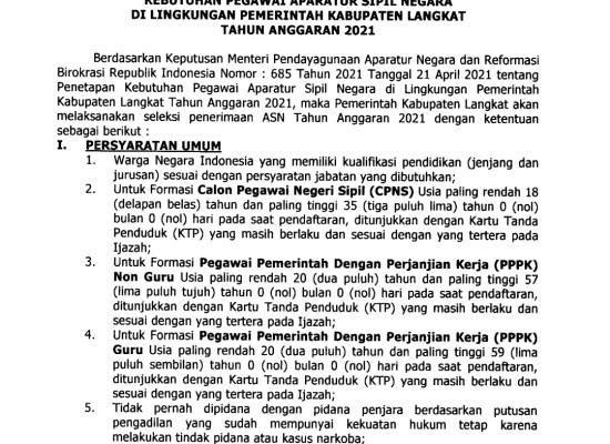 Mau ikut Loker CPNS dan PPPK Kabupaten Langkat. Ini Syarat, Jadwal dan Tahapannya