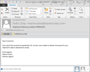 Phishing and Malware – FedEx missed delivery