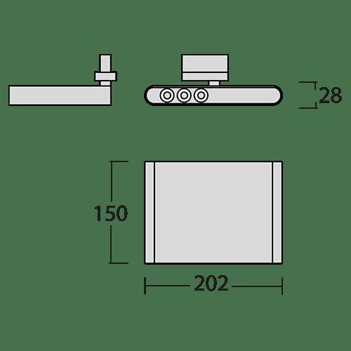 Medidas proyector led de carril VIMA 20