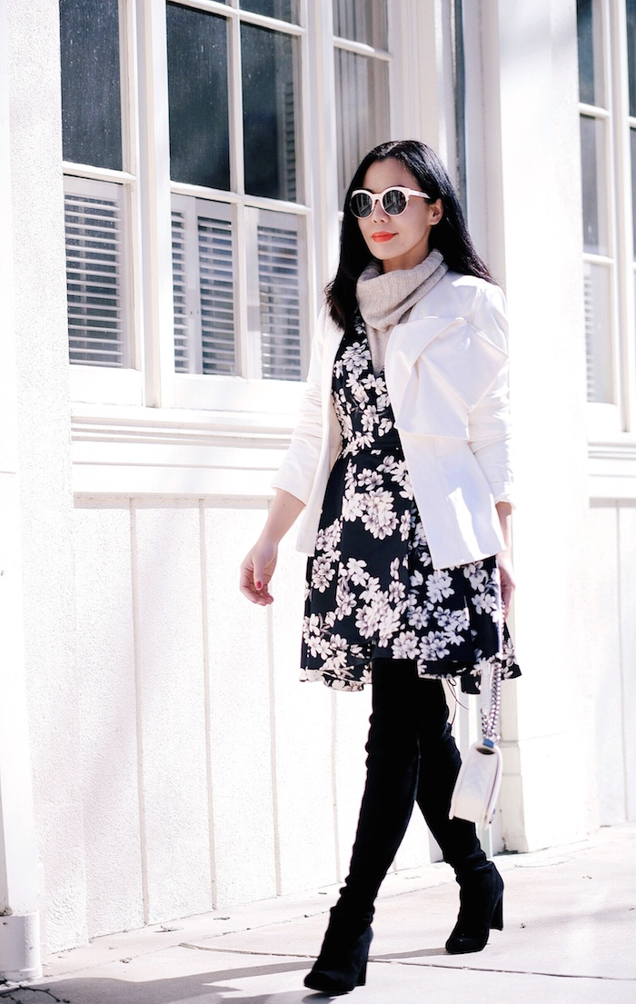 Alice And Olivia Black And White Floral Dress