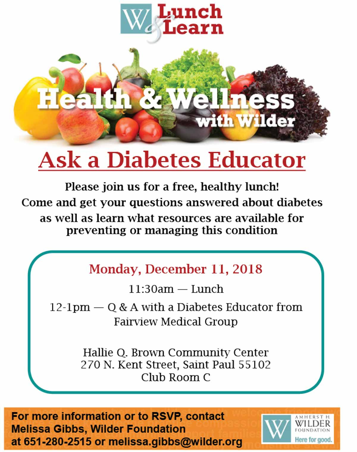 HQB Wilder CSA Lunch Learn_Diabetes Educator 12/11/2017