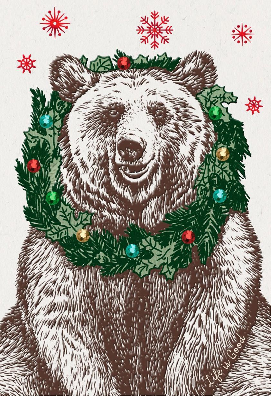 Life Is Good Nice Bear Christmas Card Greeting Cards