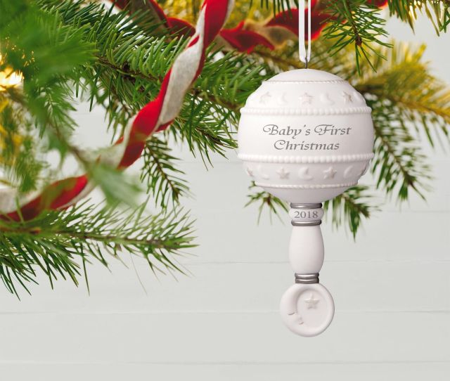 Babys First Christmas Rattle  Porcelain Ornament