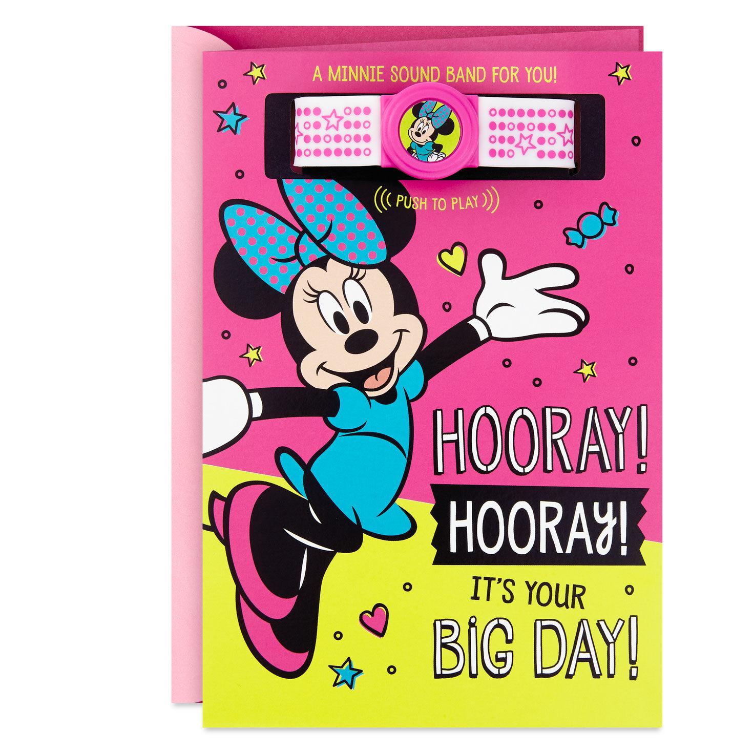 Disney Minnie Mouse Hooray Birthday Card With Musical Bracelet Greeting Cards Hallmark