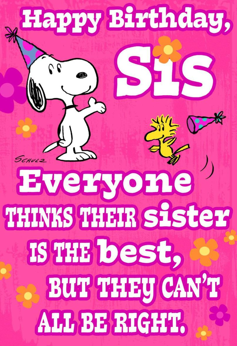 Peanuts Snoopy And Woodstock Best Sister Funny Birthday Card