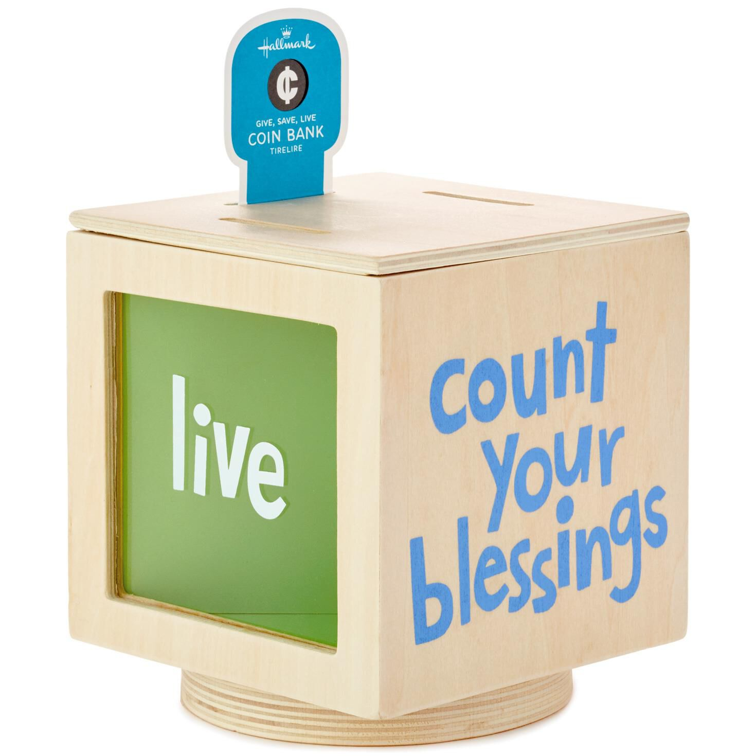 give save live wooden bank