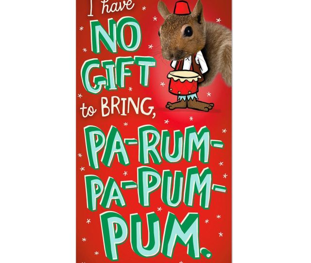 Pop Up Little Drummer Squirrel Money Holder Funny Christmas Card