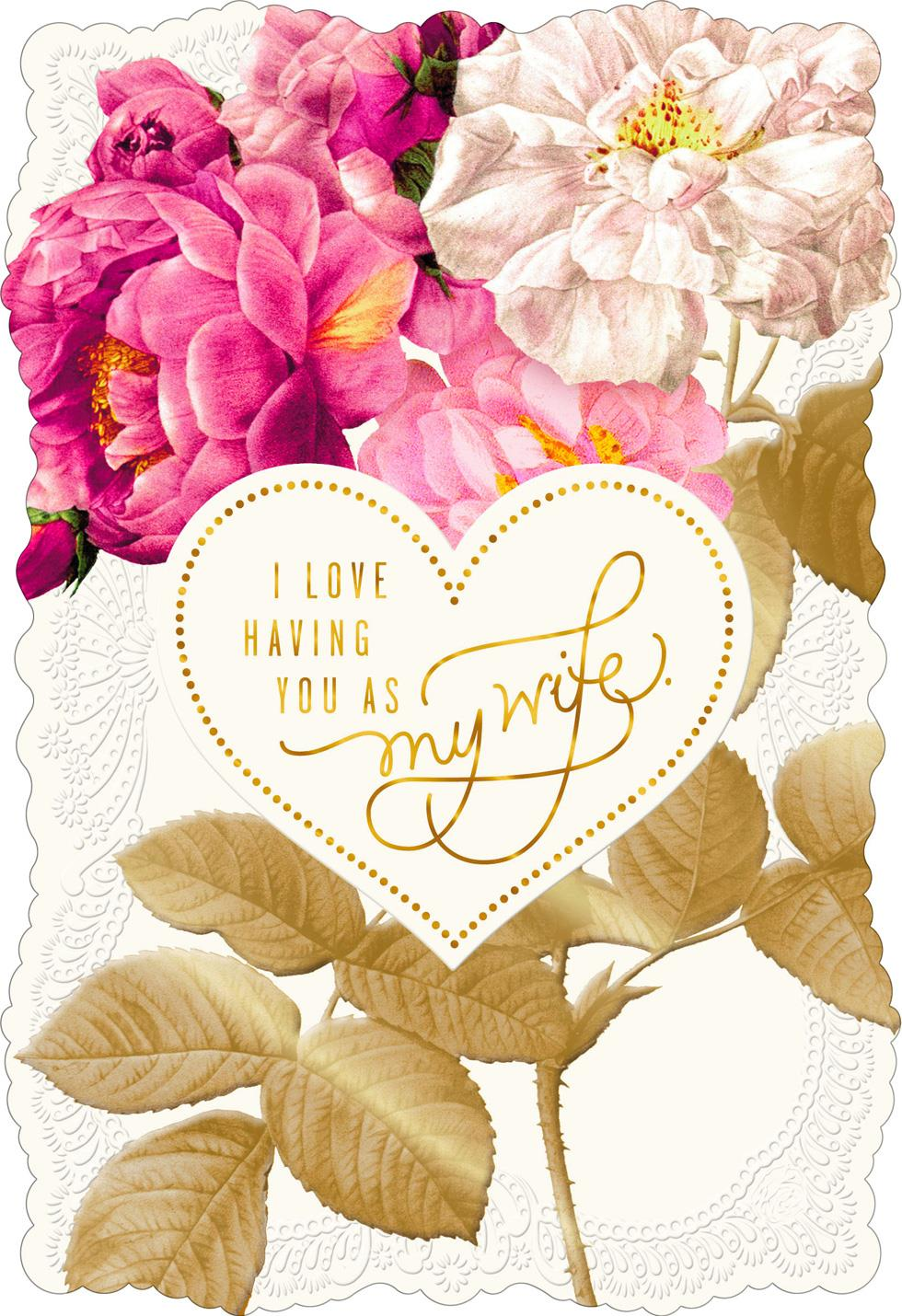 Lace And Flowers Valentines Day Card For Wife Greeting