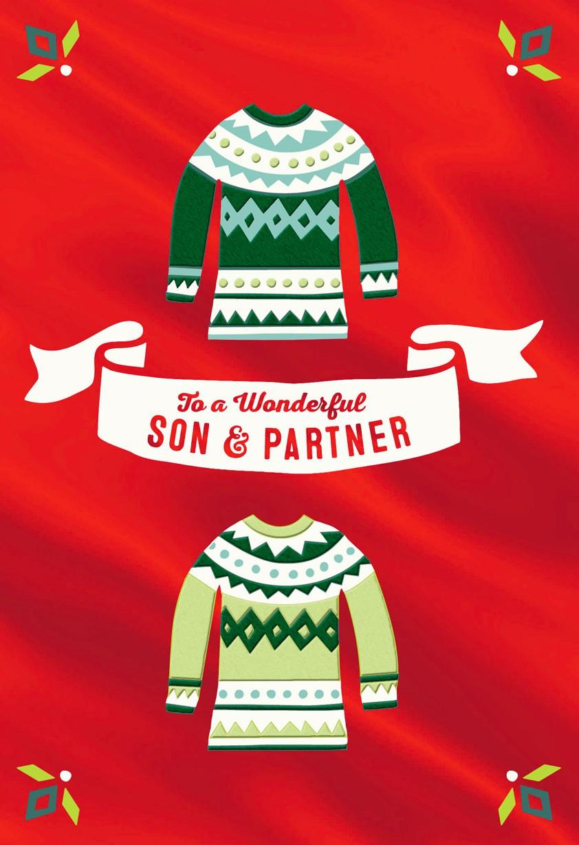 Wonderful Son And Partner Christmas Card Greeting Cards