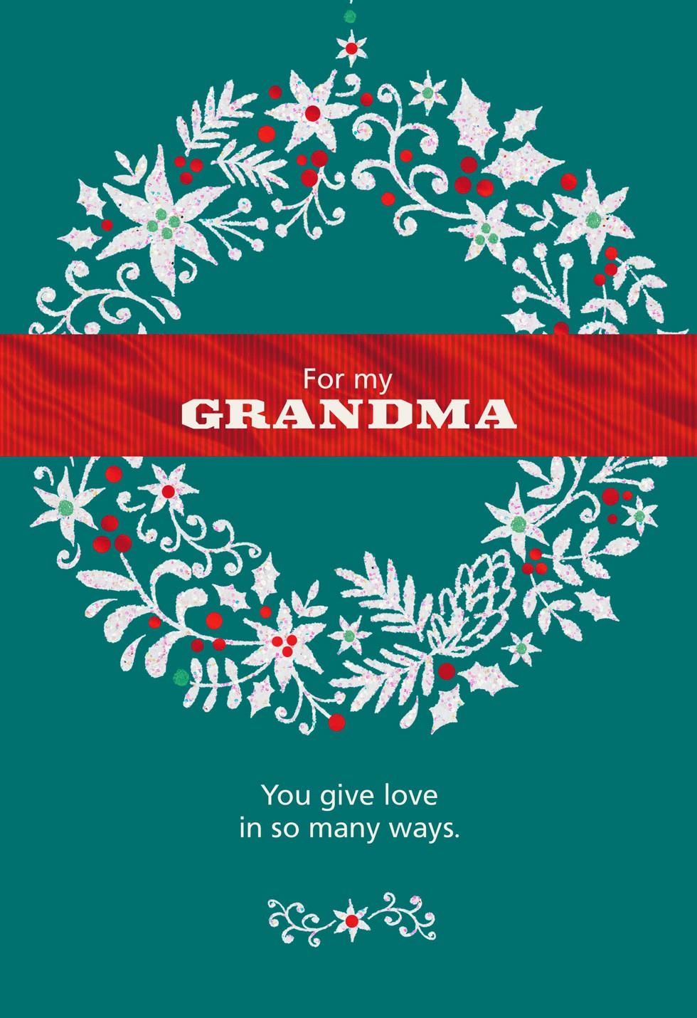 Glitter Wreath For Grandma Christmas Card Greeting Cards
