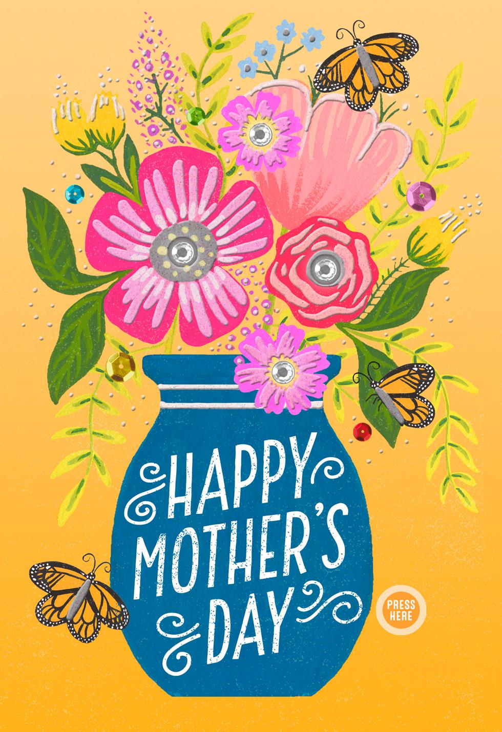 Vase Of Flowers Musical Mothers Day Card Greeting Cards