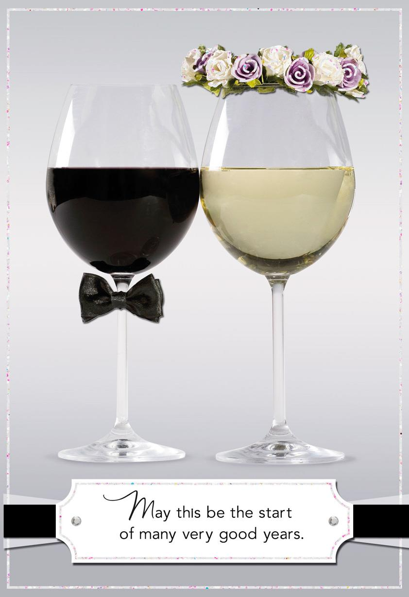Bride And Groom Decorated Glasses Wedding Card Greeting Cards Hallmark