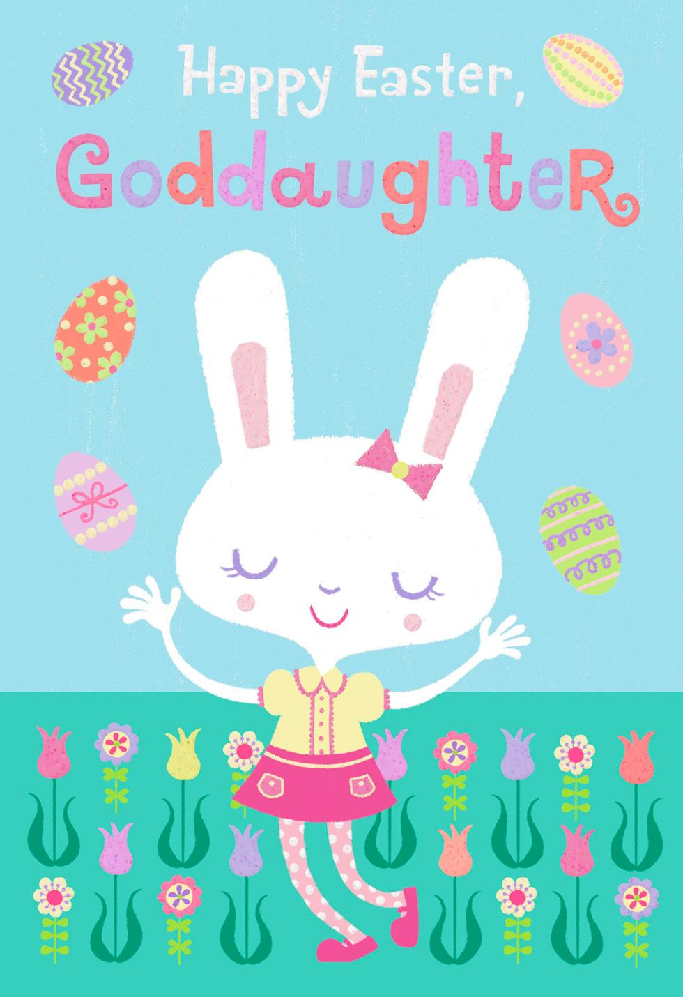 Goddaughter Flowers And Eggs Easter Card Greeting Cards
