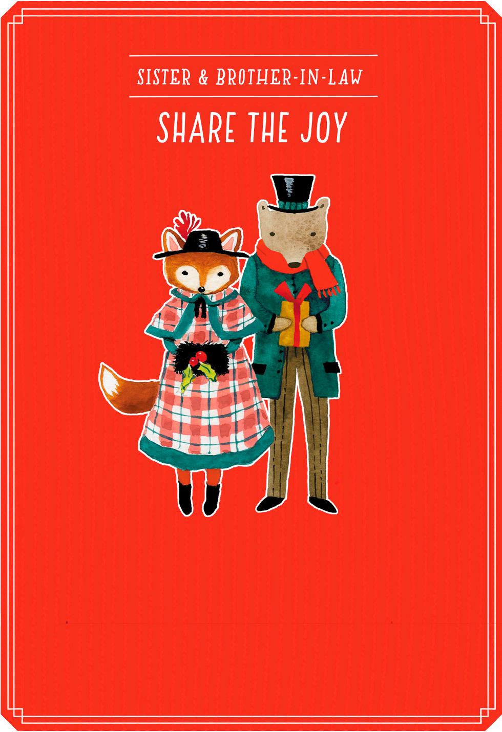 Share The Joy Christmas Card For Sister And Brother In Law