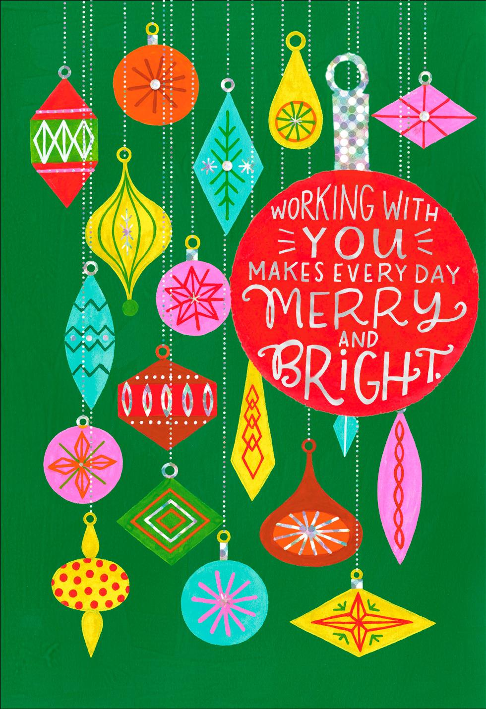 Colorful Ornaments Christmas Card For Coworker Greeting