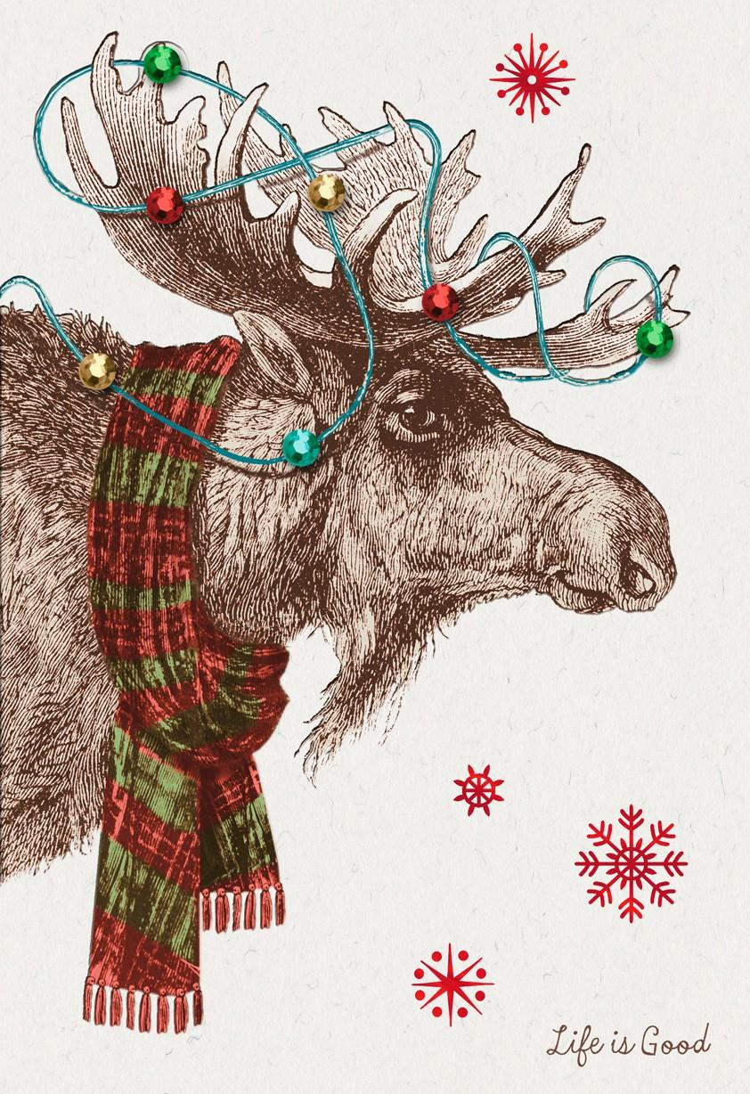 Life Is Good Jolly Moose Christmas Card Greeting Cards